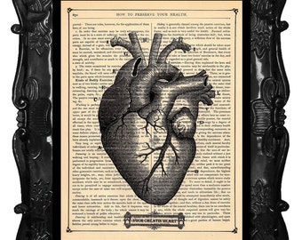 Dictionary print ANATOMICAL HEART Custom art dictionary book page art print, human HEART anatomy, medical science, black white human heart