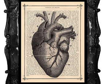 ANATOMICAL HEART art print on antique book page art print dictionary print human anatomy, medical science, black white anatomical HEART