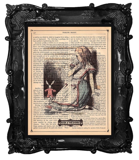 FREE SHIPPING WORLDWIDE ALICE IN WONDERLAND ALICE AND THE RABBIT PRINT on a Vintage 1890  Book Page