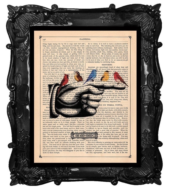 BIRDS on finger, Colorful Birds ART PRINT on dictionary antique book page Bird finger hand print