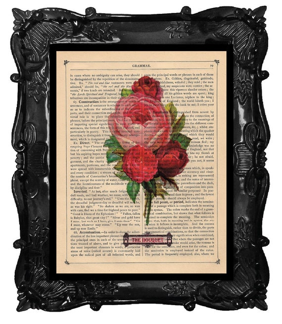 Red and Pink ROSES bouquet print ROSES art artistically made on antique book page vintage ROSES dictionary art print