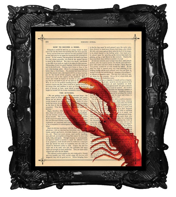 LOBSTER Art Print Red LOBSTER Peeking Print antique book page dictionary art print Lobster