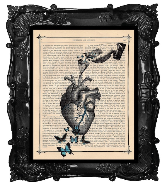 Butterfly HEART Anatomy ANATOMICAL HEART with Butterflies dictionary art print on dictionary page, book page art print, dictionary print