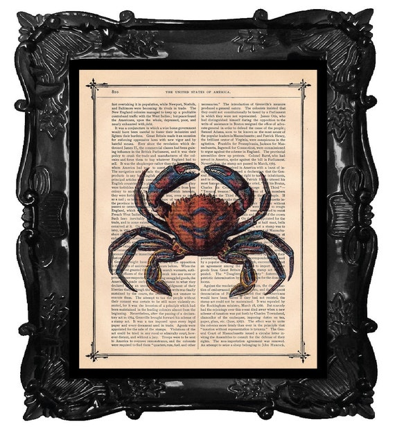 Upcycled Dictionary Page Upcycled Book Art Upcycled Art Print Upcycled Book Print Vintage Art Print Beautiful Blue and Orange Crab