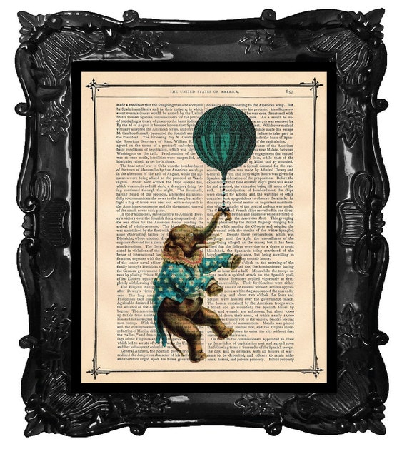 Upcycled Dictionary Page Upcycled Book Art Upcycled Art Print Upcycled Book Print Elephant in Blue Jacket French Hot Air Balloon