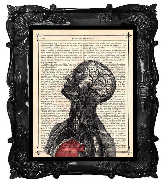 Head muscles art,  anatomy art print, anatomical head veins science office dictionary book page heart art anatomy home decor