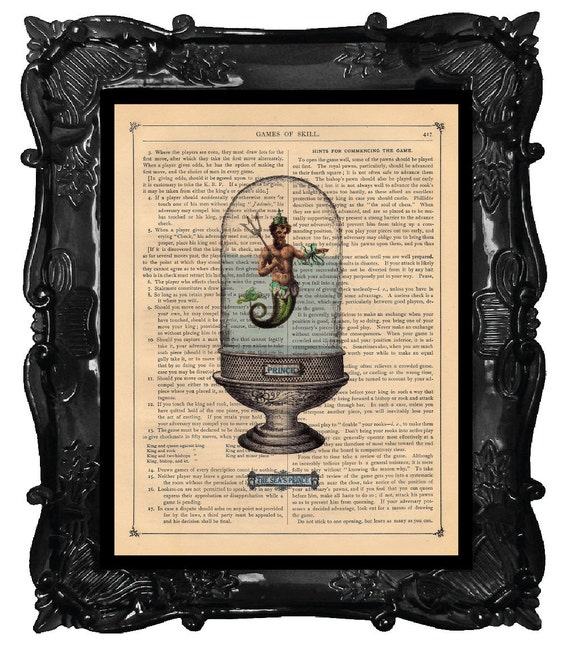 Upcycled Dictionary Page Upcycled Book Art Upcycled Art Print Upcycled Book Print Vintage Art Print Merman Prince and Octopus Aquarium