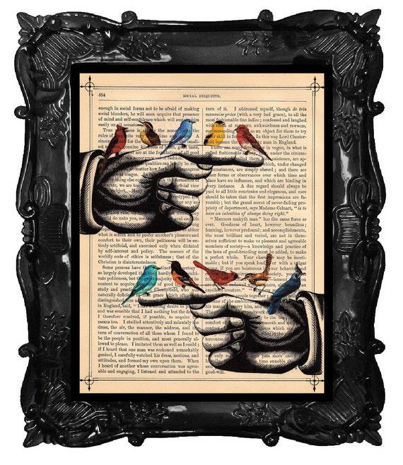 BIRD Bird Finger - BIRD art print - dictionary antique book page BIRDS art
