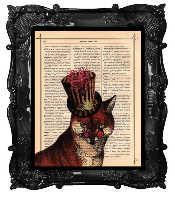 Artistic FOX - Print FOX top hat art print beautifully made upcycled dictionary page book FOX antique book print steampunk