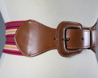 vintage 1980s belt brown leather buckle with pink striped fabric