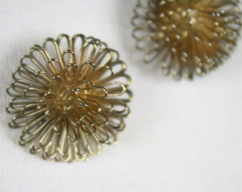 vintage earrings 1970s bronze starburst post balls