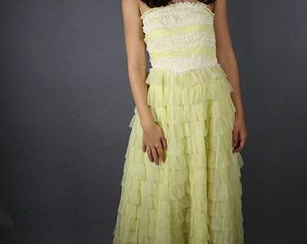 SALE vintage 1950s dress tulle yellow ruffle floor length prom or wedding dress