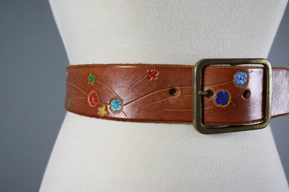 vintage 1970s brown leather belt colorful painted flowers hippie