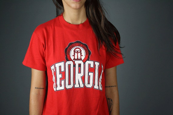 vintage 1970s tshirt university of georgia UGA top soffe shirts M