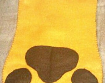 Gold and Dark Brown Puppy / Kitty Paw Pet Christmas / Yule Stocking