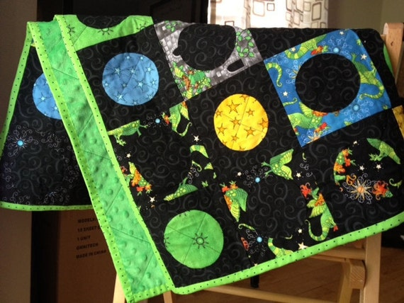 Dragons Quilt or Blanket ..boys blanket..boy crib or bed Quilt. Greens, blues, yellows