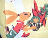 Vintage 1950s Cooking Rabbit Linen Tea Towel