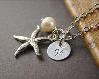 Bridesmaid Gift Personalized Starfish Necklaces Silver Pearl Initial, Wedding Jewelry