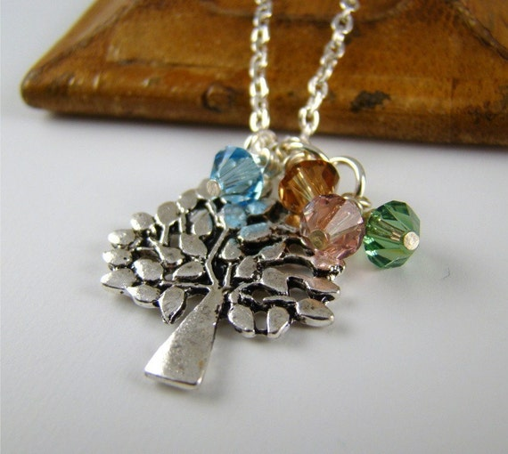 Personalized Gift for Grandmother, Silver Family Tree Pendant Charm Necklace, Tree of Life, Birthstones