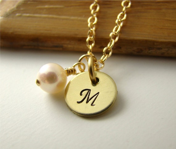 Private Listing for Janet, Personalized 14kt Gold Mongram Initial Pendant Necklace, Freshwater Pearl, Hand Stamped