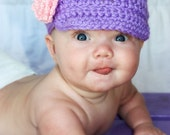 Newborn/Kids/Little girl Billed purple hat with pink flower Photography Prop