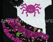 Halloween black and purple polka dot ruffle bloomers diaper cover black flower clip w/black crochet headband purple spider onesie