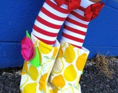 Red and white stripes leg warmers Baby Infant Toddler Newborn Girl w/attached red hair bows for added cuteness