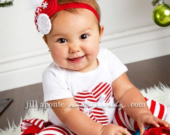 LONG SLEEVE Christmas white and red striped candy cane bodysuit striped ruffle bloomers diaper cover w/matching fabric rolled rosette