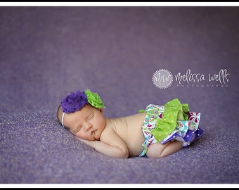 Purple lime and white polka dot ruffle bloomers diaper cover newborn baby infant toddler girl