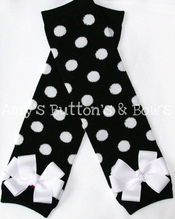 Black with white polka dots leg warmers w/attached white hair bows for added cuteness