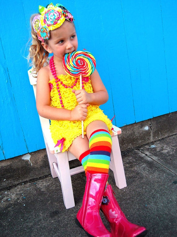 Rainbow stripes leg warmers or arm warmers w/attached white hair bows for added cuteness