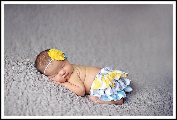 Yellow gray and aqua chevron zigzag ruffle bloomers diaper cover newborn baby infant toddler girl