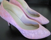 Pretty in Pink Satin and Lace Pumps Size 6.5