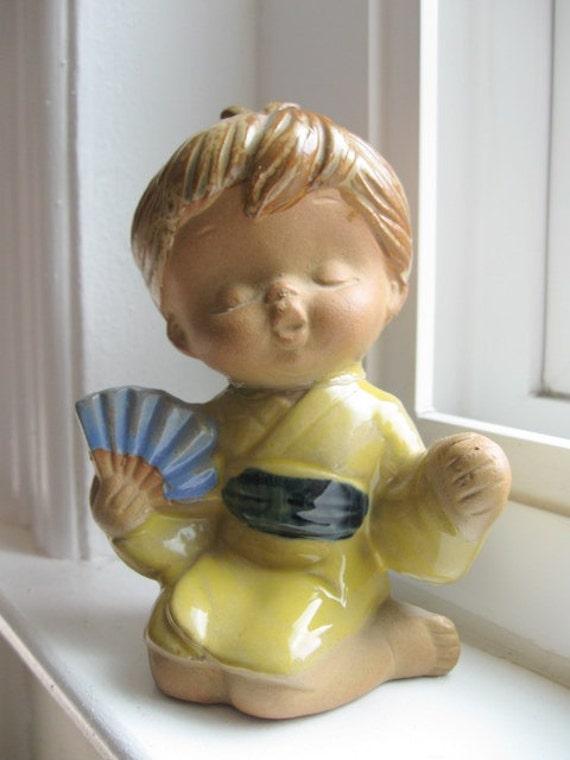 Vintage Geisha Child Ceramic Figurine 1970s Made in Japan