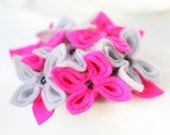Fuschia Flower Brooch, Pink with Grey Flower Brooch