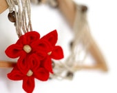 SALE Hand Knotted Flower Necklace, Red Felt Flowers, Flower Necklace