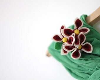 Cranberries in White Chocolate, Felt Flower Brooch