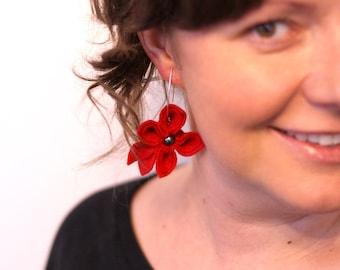 SALE Red, Felt Flower Earrings
