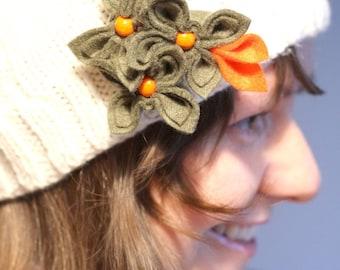 Olive with Orange, Felt Flower Brooch