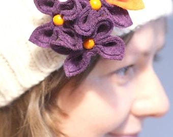 Purple with Orange, Flower Brooch