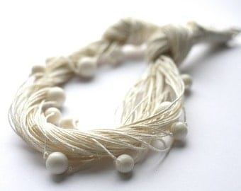 Christmas Gift for Her Snowy White Linen Necklace