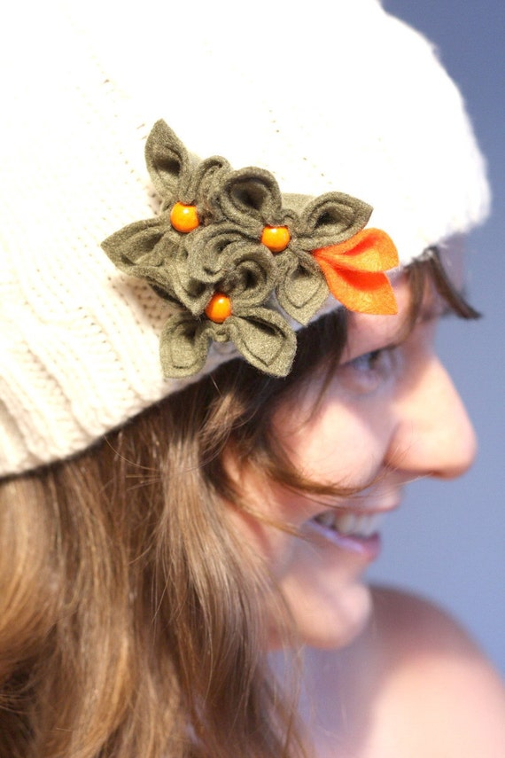 Olive with Orange, Felt Flower Brooch