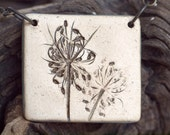 Earthy Stoneware Pendant with Queen Anne's Lace