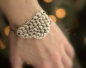 RESERVED for Jesse - Bracelet in Ivory and Deep Brown Scales.  Porcelain.