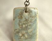 Warm Mint Textured Porcelain Pendant - peifferStudios