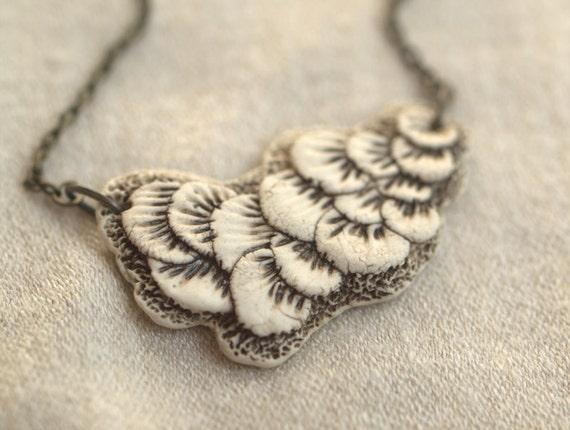 Mushroom Cloud - reversible porcelain necklace.