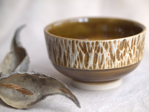 Honey Mustard - Small textured bowl.
