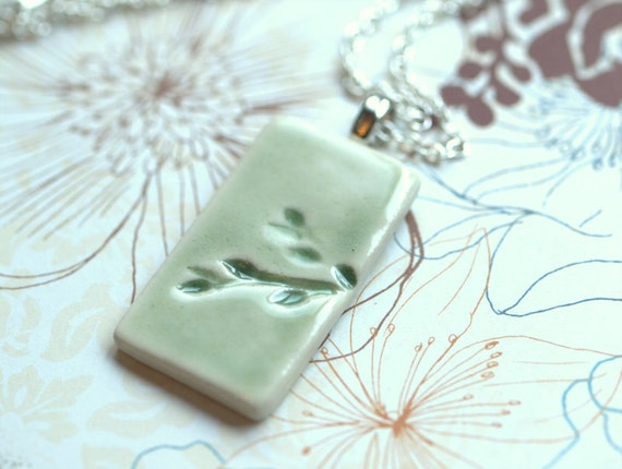 Spring - A sweet porcelain pendant with impression of Weeping Cherry.