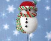 Candy Cane  Frosty Snowman handmade lampwork glass bead Christmas Bead, Made To Order