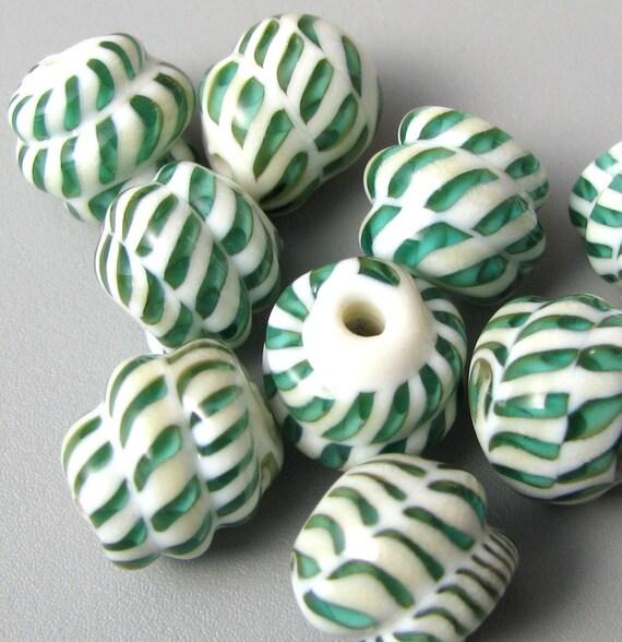 handmade lampwork glass beads set (10) Teal Green fossil vermiform